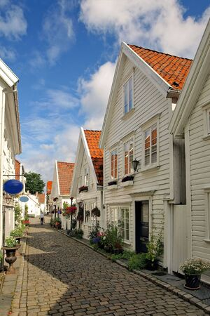 rorbu: Street with white houses in the old part of Stavanger, Norway.