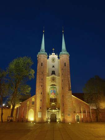 oliva: Church at night in Oliwa, Poland.