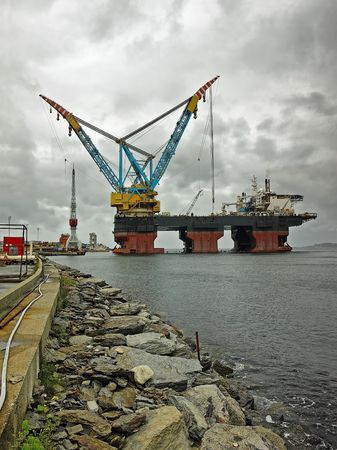 subsea: Saipem 7000 is the worlds largest crane vessel. Stock Photo
