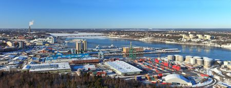Panorama of the container port in Stockholm, Sweden. photo