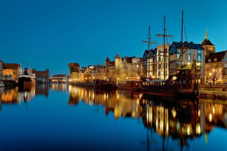 characteristic: The riverside with the characteristic crane of Gdansk, Poland. Stock Photo