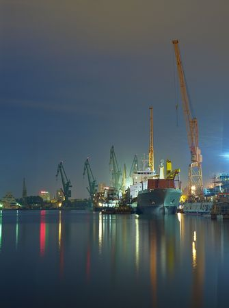 View of the quay shipyard of Gdansk, Poland. photo