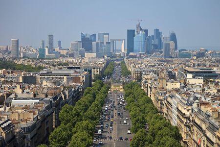 elysees: The Avenue Charles de Gaulle and La Defense, Paris. Stock Photo