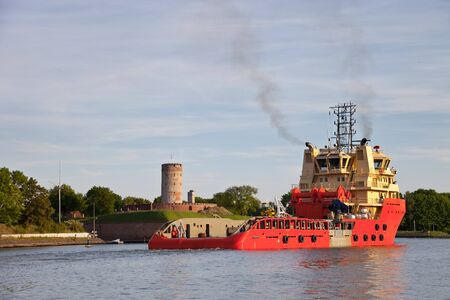 The new-built tug Bushbuck floats on the sea trials. This is a multi-purpose tug AHTS built in Northern Shipyard in Gdansk photo