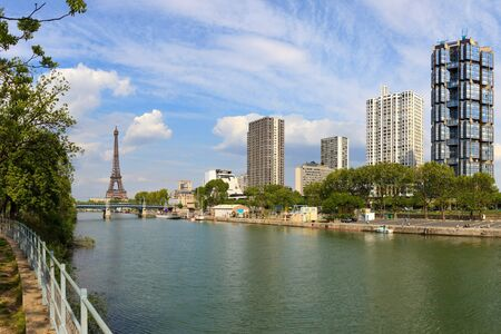 riverside tree: View on Seine river and skyscrapers in Paris, France.