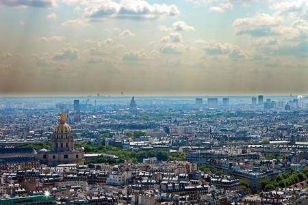 Smog in a large modern city, Paris. photo
