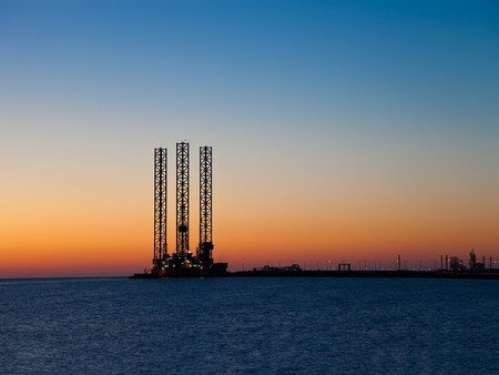 Oil Platform in the morning. photo