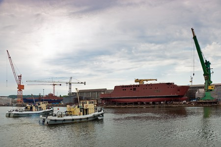 slipway: Ship launching in the Northern Shipyard in Gdansk, Poland.