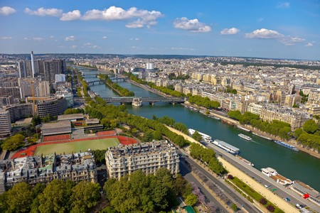 Aerial view of Paris architecture from the Eiffel tower.  photo