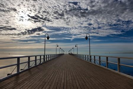 Pier in the morning. Orlowo, Poland. photo