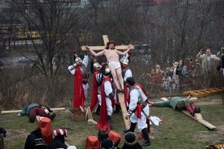 Presentation Mystery of the Passion of Jesus Christ, played by actors with the participation of the spectators April 3, 2010 in Gdansk, Poland.