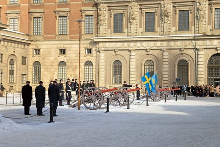 Changing of the Guard ceremony - daily ceremony in front of the Swedish Royal Palace, March 7, 2010 in Stockholm, Sweden. Stock Photo - 7449821
