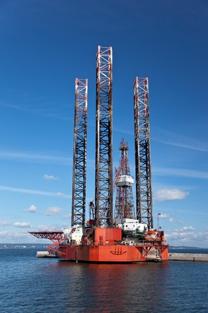 Offshore drilling on the background of blue sky. photo