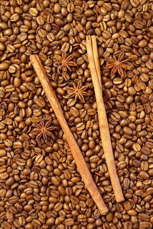 Coffee beans with aniseed and vanilla stick. photo