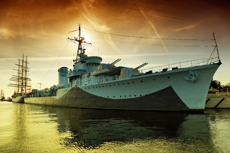 destroyer: Warship destroyer serving in the Polish Navy during World War II, currently preserved as a museum ship in Gdynia, Poland. Stock Photo