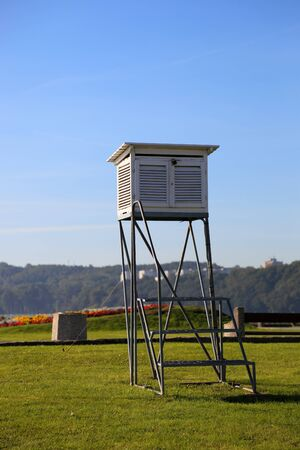 meteorological: Meteorological station on the background of grass. Stock Photo