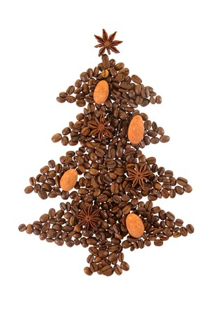 Christmas Tree symbol made from coffee beans. photo
