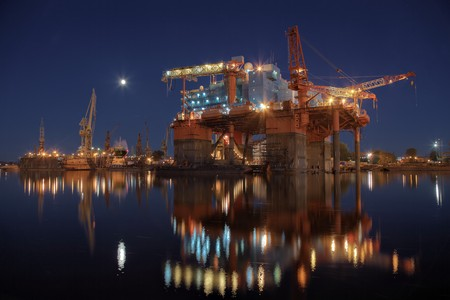 Repair of the oil rig in the shipyard. Stock Photo - 8071016
