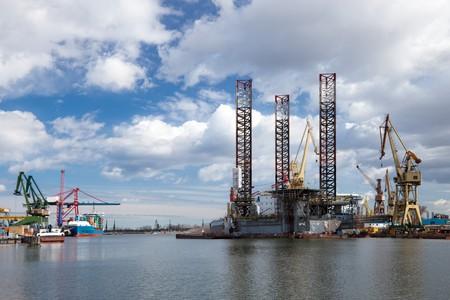 esbjerg: Platform Safe Esbjerg in repair in shipyard Gdansk, Poland. Stock Photo