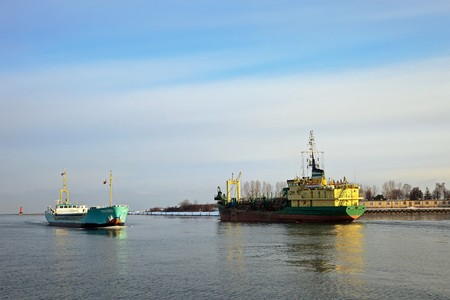 Two ships passing in the port channel. Stock Photo - 8202945