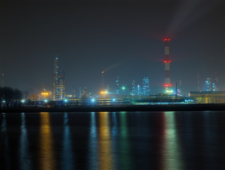 Refinery in the misty night. Gdansk, Poland. Stock Photo - 8202967