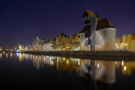 The riverside with the characteristic Crane of Gdansk, Poland. photo