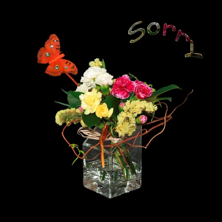 forgive: A bouquet of flowers to apologize. Stock Photo