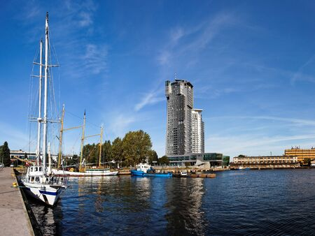 Panoramic view of the port in Gdynia, Poland. photo