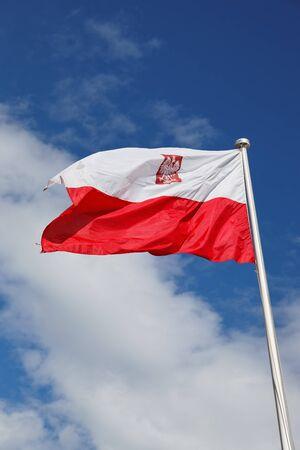 Polish national flag in the sky. photo