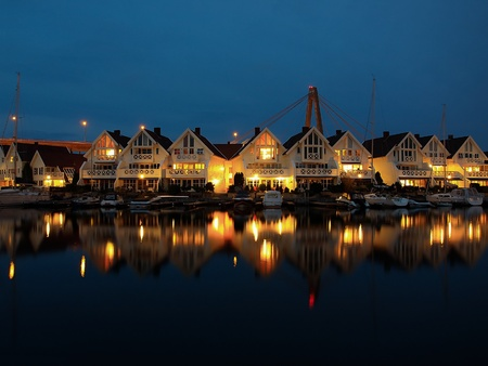 Night view of the Stavanger, Norway. photo