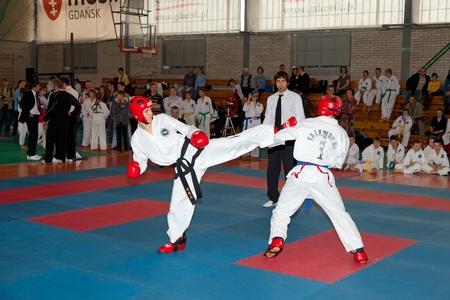 spectators: Provincial Campeonato Taekwondo de juniors y juniors m�s j�venes con la participaci�n de los espectadores en Gdansk, Polonia. Foto tomada: el 20 de marzo de 2011