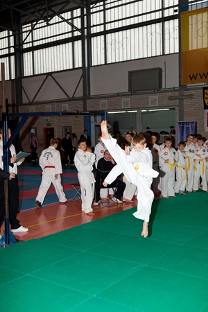 Provincial Championships Taekwon-do of juniors and younger juniors with the participation of the spectators in Gdansk, Poland. Photo taken on: March 20th, 2011