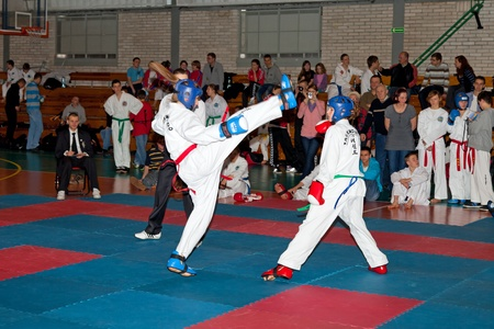 gdansk: Provincial Championships Taekwon-do of juniors and younger juniors with the participation of the spectators in Gdansk, Poland. Photo taken on: March 20th, 2011
