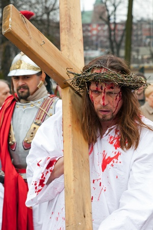 good life: GDANSK - APRIL 2 : Presentation Mystery of the Passion of Jesus Christ, played by actors with the participation of the spectators April 2, 2010 in Gdansk, Poland. Editorial