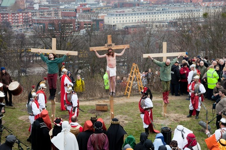 GDANSK - APRIL 2 : Presentation Mystery of the Passion of Jesus Christ, played by actors with the participation of the spectators April 2, 2010 in Gdansk, Poland.
