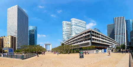 frequented: Modern district of La Defense in Paris on a sunny day, a place frequented by tourists. Photo taken on: May 21, 2010