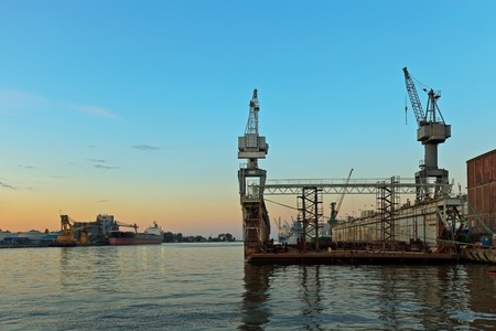 Floating dock in harbor Gdynia, Poland. photo