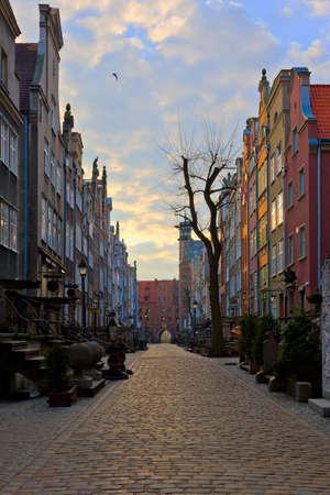Mariacka Street at dawn in Gdansk, Poland. photo