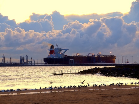 Oil tanker at an offshore terminal. photo
