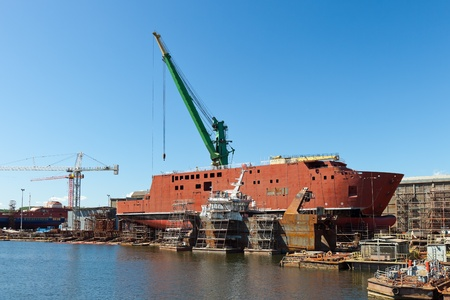 Ship during construction works in a shipyard.
