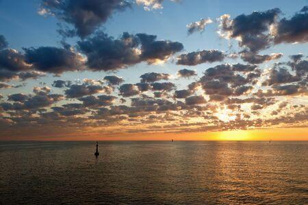 Colored sunrise over the sea. photo