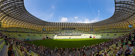 Open Day at the newly built PGE Arena. 80,000 spectators visited the stadium on August 6, 2011 in Gdansk, Poland. The stadium will be used for Euro 2012.  Stock Photo - 10404840