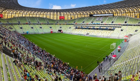 Open Day at the newly built PGE Arena. 80,000 spectators visited the stadium on August 6, 2011 in Gdansk, Poland. The stadium will be used for Euro 2012.
