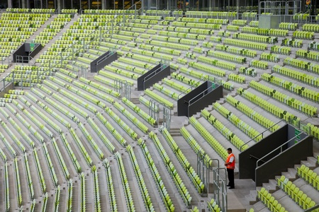 Tribune of stadium PGE Arena in Gdansk, Poland. The stadium will be used for Euro 2012.  Photo taken on: August 6th, 2011