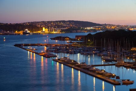Stavanger marina at night, Norway. Stock Photo - 10411035