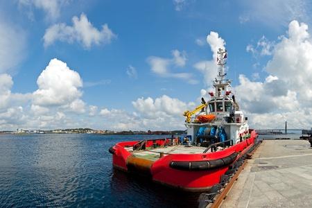 tug boat: Large tugboat berth in the port of Stavanger, Norway.