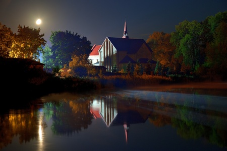 lublin: Church of the pond in Lubycza Krolewska, Poland. Stock Photo