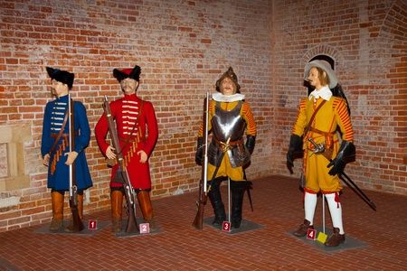 infantry: 1,2 Polish infantry soldiers is the 1650s 3,4 Foreing infantry soldiers is the 1650s Stock Photo