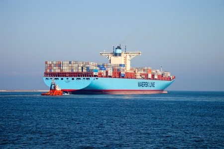 GDANSK, POLAND - OCTOBER 01: The Elly Maersk leaves the port, is currently one of the world Editöryel