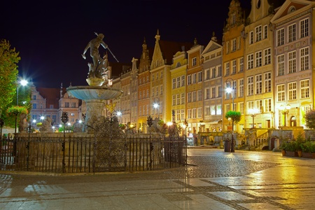 king neptune: View of the beautiful architecture of the Old Town. Gdansk, Poland.